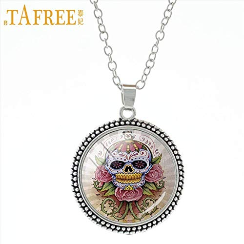 (Pendant Necklaces - Punk Bohemia Paisley Skull Pendant Necklace Novelty Halloween Skull Charms for Men Women jewlery Handmade Gifts A616 - by Mct12-1)