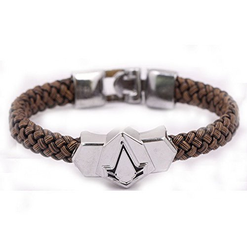 Diamrt Assassin's Creed PU Woven Leather Bracelet Alloy Wristband for Cosplay Decor