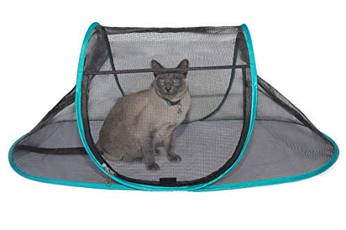 Nala and Company - The Cat House Outdoor Pet Enclosure for Indoor Cats - 43'' x 23'' x 18'' - Portable, View, Pop Up Lounger Tent for Deck, Patio, Porch, Yard, Balcony & RV Travel - with Storage Pouch by Nala and Company