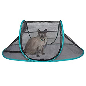 "Nala and Company - The Cat House Outdoor Pet Enclosure for Indoor Cats - 43"" x 23"" x 18"" - Portable, View, Pop Up Lounger Tent for Deck, Patio, Porch, Yard, Balcony & RV Travel - with Storage Pouch 79"
