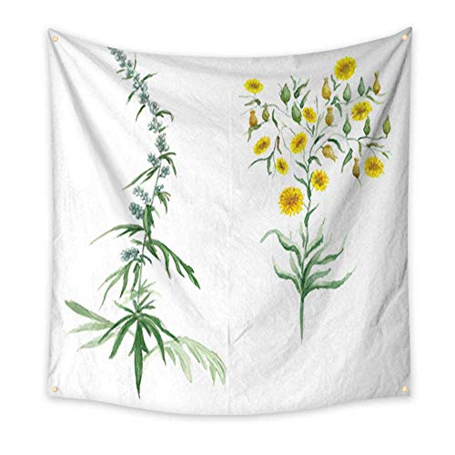 homehot Tapestry Beach Watercolor Illustration with Wildflower Bedspread Dorm Accessories Decor 47W x 47L Inch