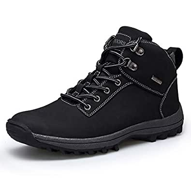 UBHOME Mens Hiking Boots Ankle Support Waterproof Breathable Winter Outdoor Sports Shoes Black Size: 8 Women/7 Men