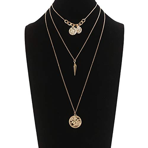 MOLOCH Layered Choker Necklace Delicate Multilayer Chain Insignia Coin Pendant Necklace Set Women Jewelry ()