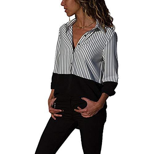 Manche Bloc Blouse de Top MINASAN Blouse Longue Noir 5XL Couleur Femme S Chemisier RxOq5wAa