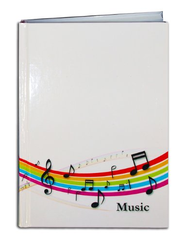 BookFactory Music Notebook / Music Journal - 120 Pages, Laminated Color Cover, Smyth Sewn Hardbound, 8'' x 10'' (12.7cm x 17.7cm), 10 Staves per page Format (LOG-120-SCS-VG-(Music)) by BookFactory