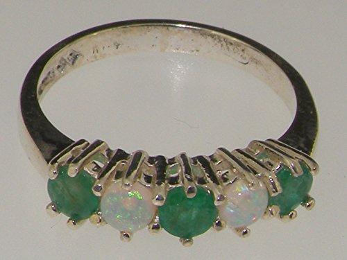 Haute Qualité Bague pour Femme en Or blanc 417/1000 (10 carats) sertie d'Emeraude et Opale - Tailles 47 à 68 disponibles