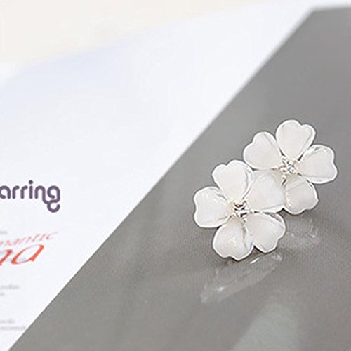 Jiayit Earrings Stud for Women Girls Teens, Clearance Sale Lovely white Flower Crystal Pendant Circle Stud Earrings Fashion Design (White)