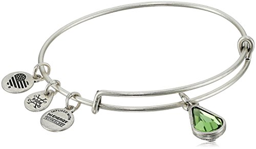Alex and Ani August Birth Month Charm with Swarovski Crystal Rafaelian Silver Bangle Bracelet