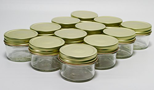 North Mountain Supply 4 Ounce Regular Mouth Mason Canning Jars - With Gold Safety Button Lids - Case of 12