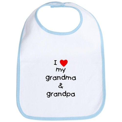 - CafePress I Love My Grandma & Grandpa Bib Cute Cloth Baby Bib, Toddler Bib