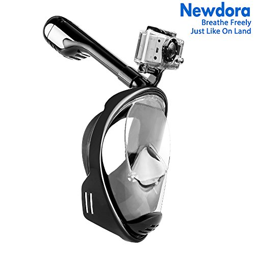 Full Face Snorkel Mask, Newdora 2018 New Foldable Diving Snorkeling Scuba Mask Full Face with Detachable GoPro Mount Pivot Arm and Earplug, 180° Large View Easy Breath Anti-fog Anti-leak (L/XL adult)