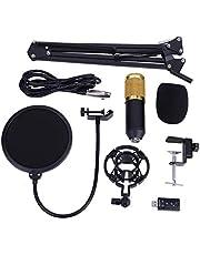 Paquete de micrófono condensador, BM800 Studio Condenser Micrófono Kit con brazo ajustable para grabación de estudio y radiodifusión