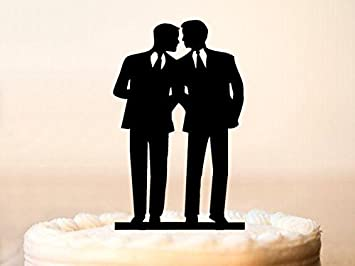 Gay Wedding Cake TopperGay TopperSame Sex Silhouette