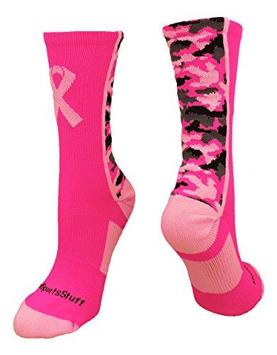 (MadSportsStuff Pink Ribbon Awareness Camo Crew Socks (Neon Pink/Pale Pink,)