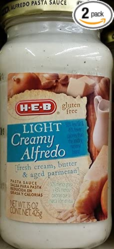 HEB Light Creamy Alfredo Pasta Sauce 15 Oz (Pack of 2)