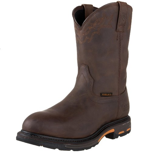 Ariat Men's Workhog Pull-on Waterproof Pro Work Boot, Oily Distressed Brown, 12 2E - Side West Platform Leather