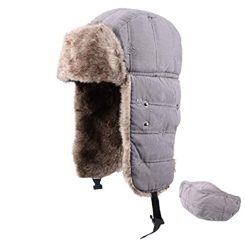 TRIWONDER Winter Trooper Trapper Hat Ushanka Russian Ear Flap Aviator Hat with Mask (Grey - 2017)
