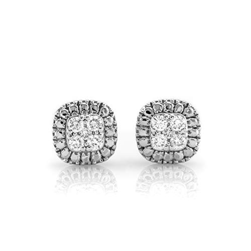 (Ethical Cut Cushion Shape Pavé Cluster Lab Diamond Stud Earrings, 0.10cts, Sterling Silver)
