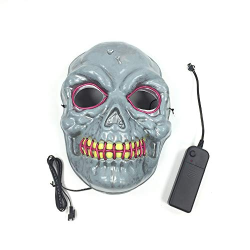 Frightening Wire Halloween Cosplay LED Light up Mask for Festival Parties (purple-18.517.5cm/Power Switch Button) -
