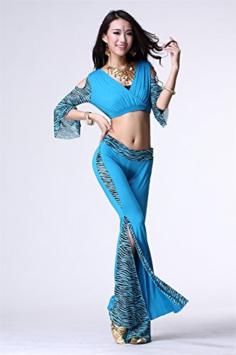 Danza del vientre Disfraz Set Mariposa Yarn Top+Exotic Wide Leg Pantalones Light Blue