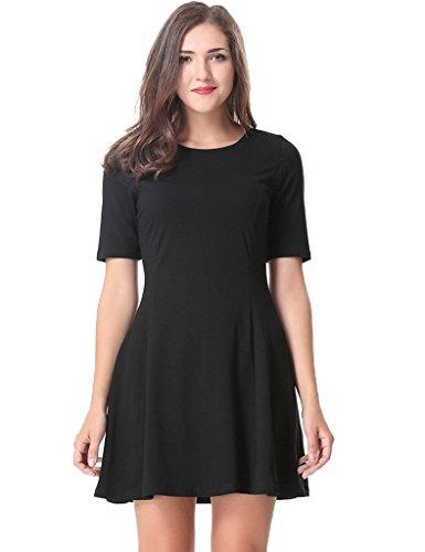 Ezcosplay Costumes (Aphratti Women's Short Sleeve Casual Slim Fit Crew Neck Dress Small Black)