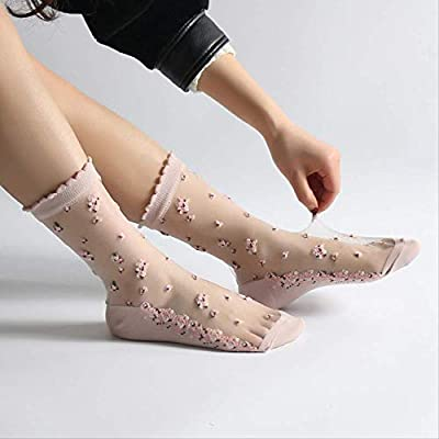 Ultrathin Socks Transparent Crystal Rose Floral Elastic Short Sock Fashion Women