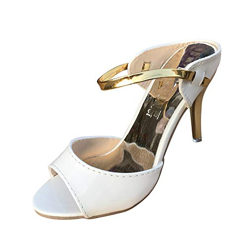 MILIMIEYIK High-Heeled Shoes, Women Sexy Strappy Sandals for Wedding Open Toe Metallic High Heels Pumps Shoes Size 4-8 -