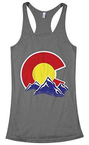 Threadrock Women's Colorado Mountain Racerback Tank Top XL Charcoal