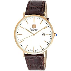 Steinhausen Men's S0522 Classic Burgdorf Swiss Quartz Stainless Steel Watch With Brown Leather Band