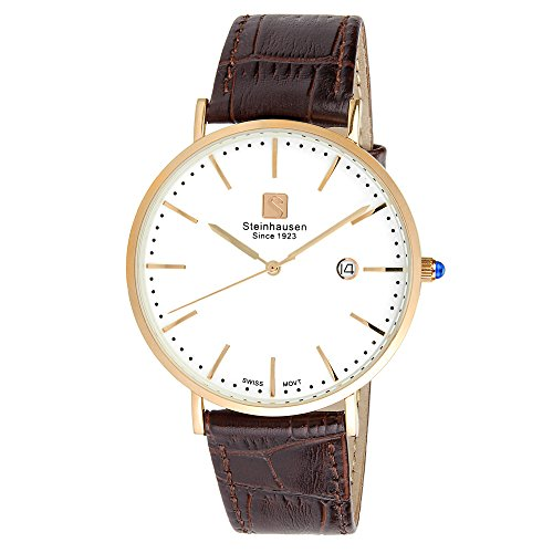 - Steinhausen Men's S0522 Classic Burgdorf Swiss Quartz Stainless Steel Watch With Brown Leather Band