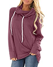 isermeo Women's Hoodies Long Sleeve Shirt Casual Solid Color Tee Shirt Fall Clothes for Women Tops Blouse S-XXL