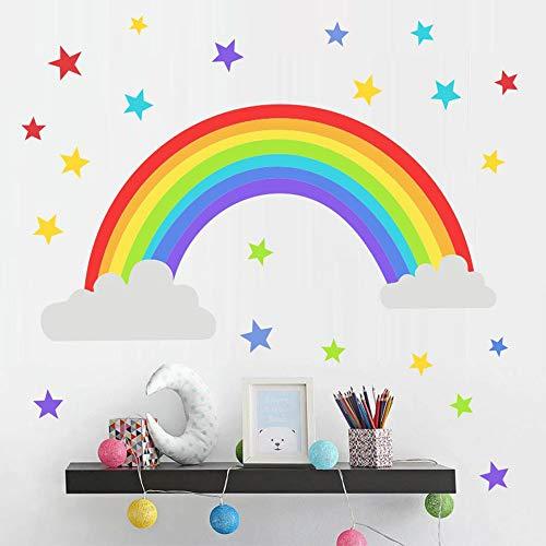 Rainbow Kids Room Decor,Cloud Wall Sticker,Colorful Stars Clouds Stickers Wall Sticker for Kids Room Decor Gift,DIY Mural Art Home Decoration