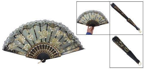 Agordo Organza Sector Plastic Ribs Dance Foldable Hand Fan Black H8K2 ()
