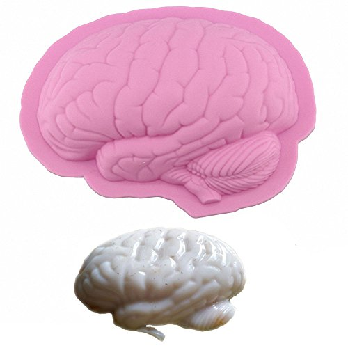 3d Zombie Brain Gelatin Mold - MoldFun Large Size Halloween Party Gag Brain Silicone Mold for Jello Shot, Bread, Cake Baking, Fimo Clay, Soap, Ice Cube, Ice cream