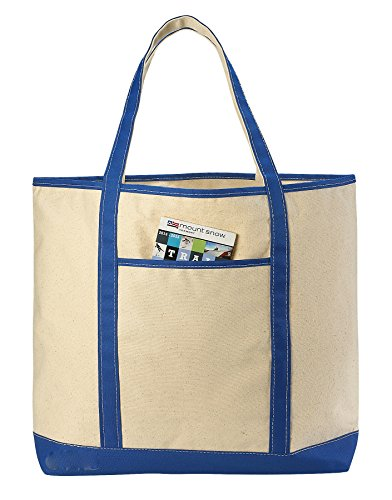 (Canvas Tote Beach Bag - These Large Bags Are Strong Enough to Carry Beach Gear and Wet Towels. Front Pocket, Inside Zippered Pocket and Shoulder Straps for Easy Carrying. (Royal Blue | 22 x 16 Inches))