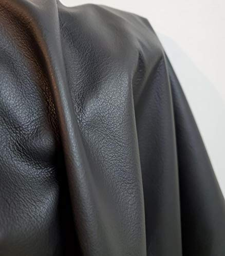 NAT Leathers Black 19 to 22 Sf Square Feet Upholstery Fullgrain Italian Smooth 2.0 Oz Crafting Chap Tooling Cowhide Genuine Leather Skin