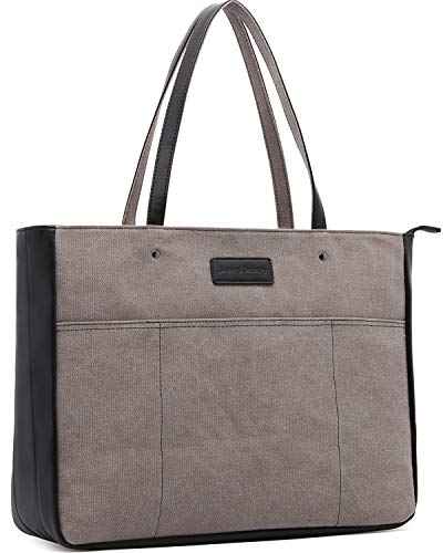 Laptop Tote Bag,Women 13-15.6 Inch Laptop Bag for Work,Lightweight Canvas Tote Bag Office Briefcase,Black