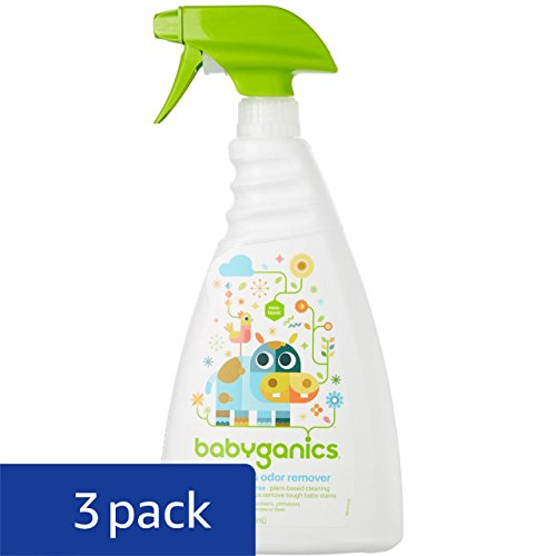 Babyganics Stain & Odor Remover Spray, Fragrance Free, 32oz Spray Bottle (Pack of 3) - incensecentral.us