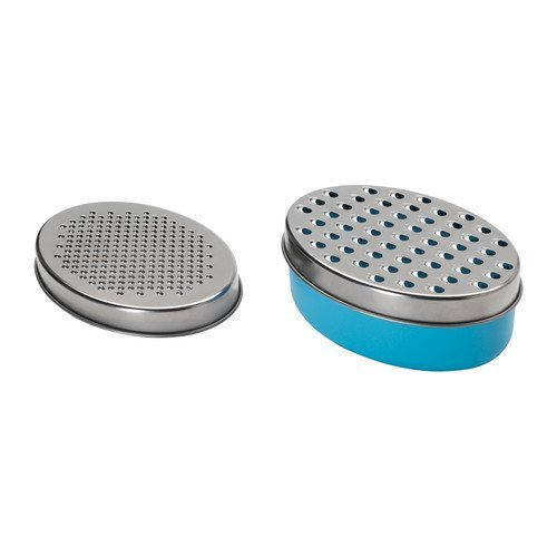 2 X Cheese / Vegetable Grater Stainless Steel with 1 X Food Saver Container & Lid, Blue Verdi