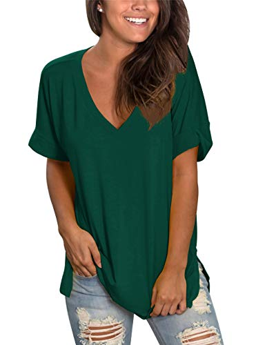 Tunic Shirt V-neck - Topstype Womens Summer Short Sleeve T Shirts V Neck Tunic Roll Up Tops Cute Tees Loose Fitted Henley Workout Shirts Dark Green