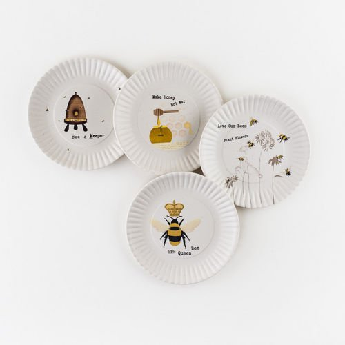 180 Degrees Busy Bees Melamine 7.5'' Plates - Set of Four,multi