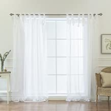 "Best Home Fashion Sheer Voile Curtains - Tie Top - White - 56""W x 84""L - (Set of 2 Panels)"
