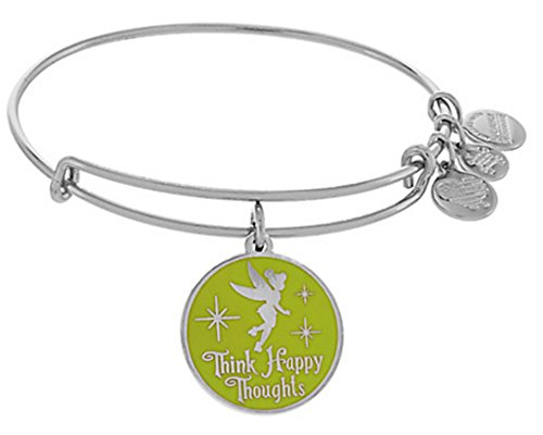 Disney Tinkerbell Jewelry - Alex and Ani Disney Parks Tinker Bell Fairy Green Enamel Think Happy Thoughts (Rafaelian Silver)