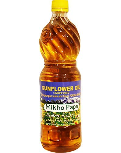 Miho Papa Sunflower Oil (Unrefined) Organic, 33.8 Fl Oz / 1 Litre. Imported from Georgia