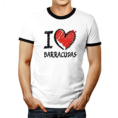 Idakoos I Love Barracudas Chalk Style Ringer T-Shirt L White