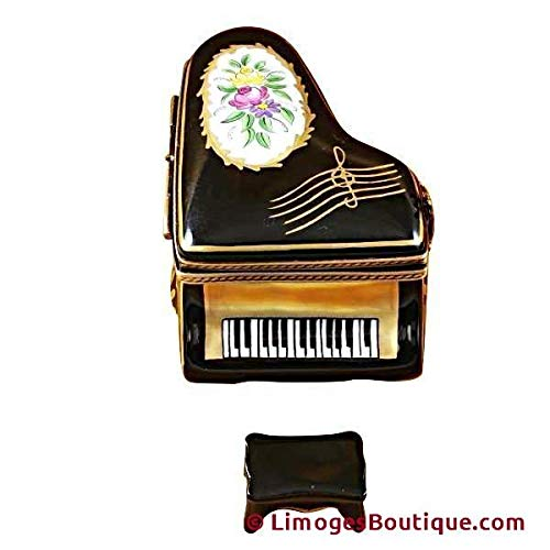 Bench Painted Floral French Hand (GRAND PIANO FLORAL WITH PORCELAIN BENCH - LIMOGES BOX AUTHENTIC PORCELAIN FIGURINE FROM FRANCE)