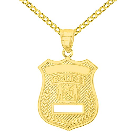 - Solid 14K Yellow Gold Police Officer Badge Charm Pendant with Cuban Chain Necklace, 20