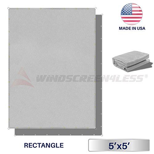 Windscreen4less Straight Edge Sun Shade Sail,Rectangle Heavy Duty 240GSM Outdoor Shade Cloth Pergola Cover UV Block Fabric – Custom Size Light Grey 5 X 5