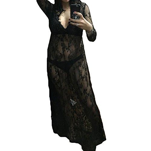 Perspectiva Pijamas de Camisón sexy de tentación de Negro encaje sexy hibote niñas dormir mujer de Vestido Lencería noche para Vestido para qB87Bt