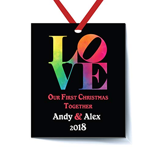 Our First Christmas Together Ornament 2018, Love Christmas Ornament 2018, Our First Xmas Together Gifts for Boyfriend Girlfriend, Gay First Holiday Anniversary Elegant Couple Present]()